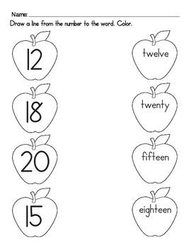 Apple Numerals Worksheet 2