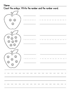 Apple Numerals Worksheet