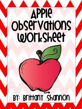 Apple Observation Worksheet