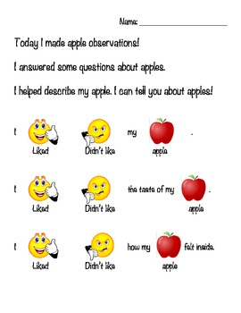Apple Observations- modified literacy & science, special education & early ed