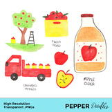 Apple Orchard - Colored Pencil Clipart - Transparent PNGs