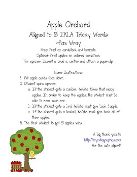 Apple Orchard Sight Word Game (aligned to 1B IRLA Tricky Words)