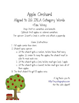 Apple Orchard Sight Word Game (aligned to 2G IRLA Category Words)