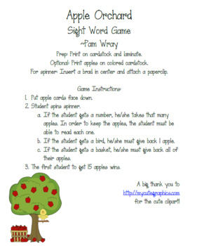 Apple Orchard Sight Word Game (Editable)
