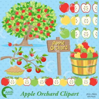 Clipart Apple Orchard clip art, apple clipart, Fall apple picking, AMB-138