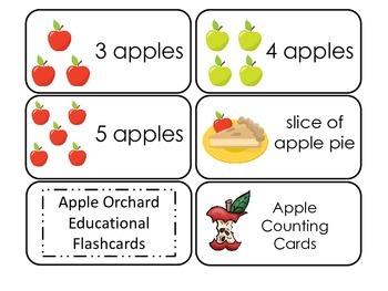 Apple Orchard themed Picture, Word, and Counting Flash Cards.  Daycare.