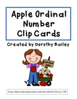 Apple Ordinal Numbers Math Center