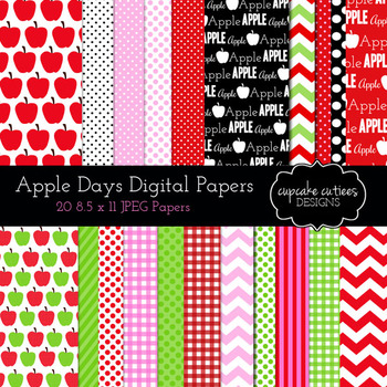 Apple Papers Digital Paper Pack 8.5 x 11 Papers Digital Graphics -Commercial Use
