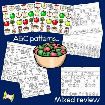 Apple Patterns Math Center with AB, ABC, AAB & ABB Patterns