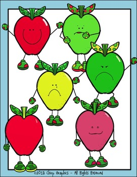 Apple People with Feelings Clip Art Set - Chirp Graphics
