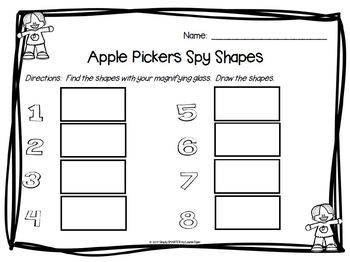 Apple Pickers Spy Shapes:  NO PREP Apple Themed I Spy Flat Shapes Game