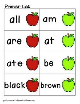 Apple Pickin' Sight Words! Primer List Pack