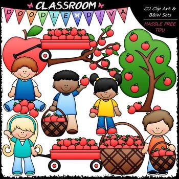Apple Picking Clip Art - Kids Picking Apples Clip Art