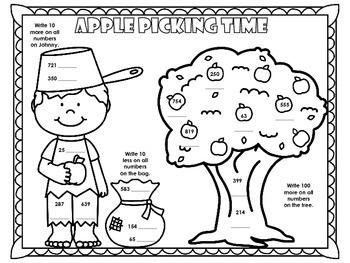 Apple Picking 10 more 10 less 100 more coloring sheet