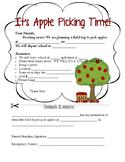 Apple Picking Field Trip Permission Slip