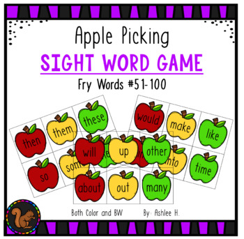 Apple Picking - Fry Sight Word Game #51-100