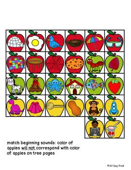 Apple Picking Literacy: File Folder Game