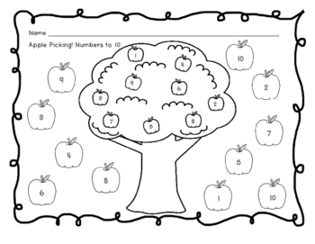 Apple Picking-Number, Shape, Color, and Letter Identification Practice