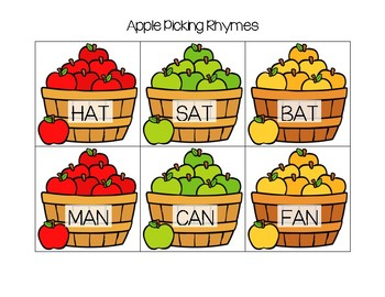 Apple Picking Rhyming Cards (Short Vowel)