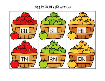 Apple Picking Rhyming Cards (Short Vowel)