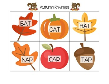Autumn Rhyming Cards (CVC-Short Vowel)