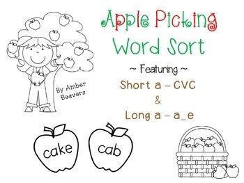 Apple Picking!! Short a CVC/ Long a a_e Word Sort *Common