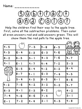 Fall Subtract and Color Activity