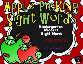 Apple Picking WONDERS Kindergarten Sight Word Literacy File Folder Game