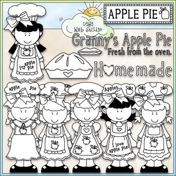Apple Pie Cuties Clip Art - Girls Clip Art - CU Clip Art & B&W