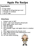 Apple Pie Non-Fiction Sequencing Activity (Common Core)