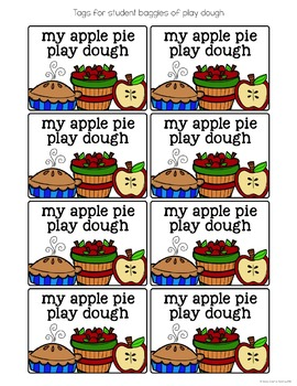 Apple Pie Play Dough Recipe and Comprehension Questions
