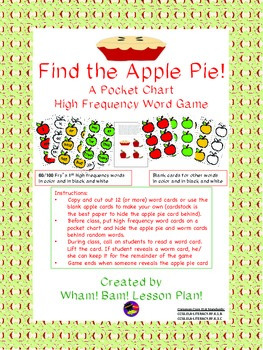 Apple Pie Sight Word Game