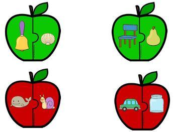 Apple Piece Puzzles:  LOW PREP Rhyming Puzzles