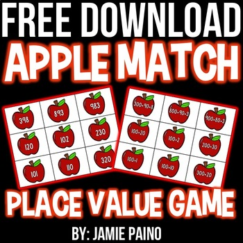 Apple Place Value Card- FREEBIE
