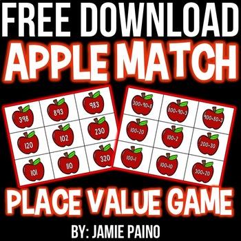 Apple Place Value Card- FREEBIE