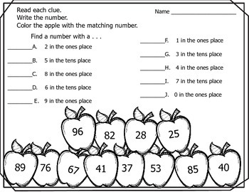 Place Value of Tens and Ones  - Apples (Fall/Autumn/Back to School)