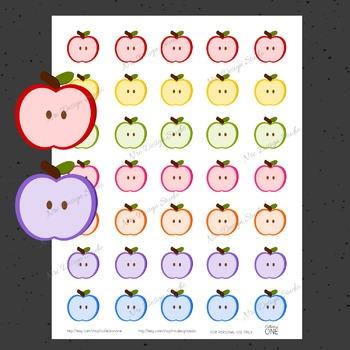 Apple Planner Stickers - Printable Planner Stickers, Teacher Planner