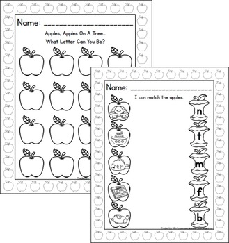 Apple Play Dough Mats For A to Z!  Letter & Picture Mats PLUS Printables!