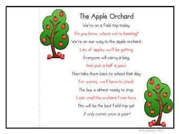 Poetry for September Fluency Practice ~Apple Poetry~