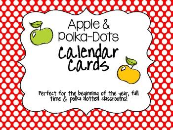 Apple & Polka-Dots Calendar Cards
