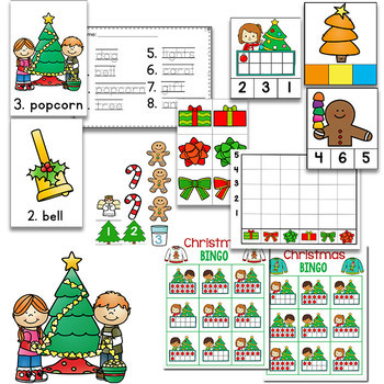 Preschool/ Pre-k Math & Literacy Centers   Christmas Theme