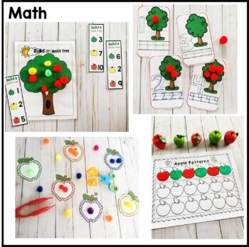 Apple Preschool and PreK Literacy and Math Pack