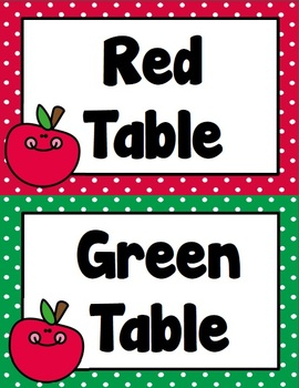 Apple Primary Polka-Dot Table Labels