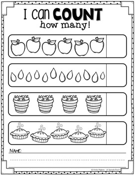 Apple Printables and Worksheets - PreK, Kindergarten, Preschool, Pre-K