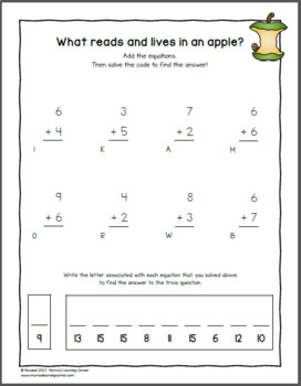Apple Worksheets for Kindergarten and First Grade