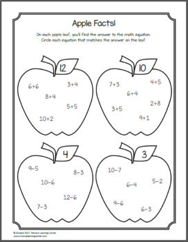 Apple Worksheets for Kindergarten and First Grade by Mama's Learning ...