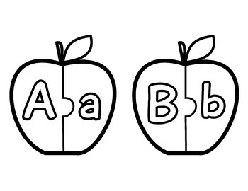 Apple Puzzles ABC Matching Game; Kindergarten; Preschool; Homeschool; Alphabet