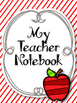 Apple Red Teacher Notebook. Binder. Planner Arc Notebook. Lesson Plan Calendar