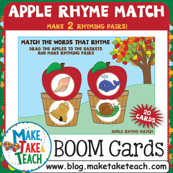 Boom Cards - Apple Rhyme Match with 2 Rhyming Pairs