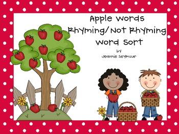 Apple Rhyming Word/Not Rhyming Word Pairs Sort